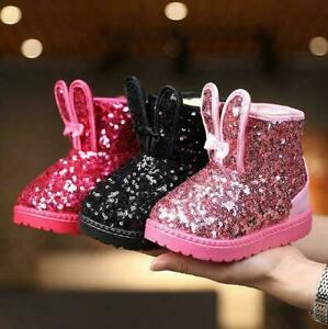 KIDS GIRLS INFANT GLITTER ANKLE WARM WINTER FAUX FUR LINED COMFY SHOES BOOTS