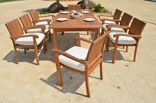"9 PC DINING TEAK SET GARDEN OUTDOOR PATIO FURNITURE NAPA STACKING 94"" RECT TABLE"