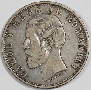 Romania 1882 B 5 Lei 25 Gram Silver Coin Fine KM #17.1 Carol I Better Date