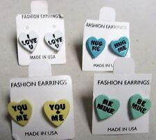 4 Vintage 60's Enamel Valentine's Day Conversation Candy Heart Pierced Earrings