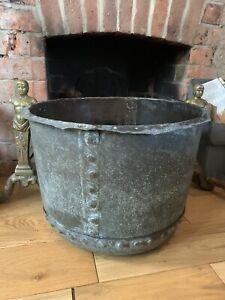 Antique 19th Century County House Huge Heavy Copper Log Goal Fireside Bucket