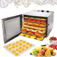 6 Tray Food Dehydrator Machine Stainless Steel Racks Healthy Fruit Jerky New US
