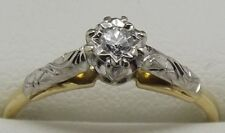 SOLID 9CT YELLOW GOLD NATURAL SOLITAIRE DIAMOND DRESS/ENGAGEMENT RING-SIZE P1/2