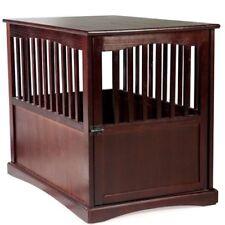 Dog Crate Wood End Table Pet Comfort Kennel Indoor Pet Furniture  Large Brown