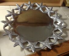 "Mariposa Starfish Serving Dish / Platter Aluminum Large 16"" Coastal / Nautical"