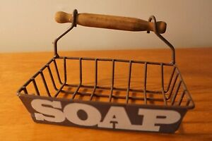 Vintage Style Country Primitive Kitchen or Bathroom Metal & Wood Soap Dish Decor