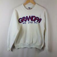 Grandpa We Love You Sweatshirt Large Size L Vtg Sweater 90s Red White Blue