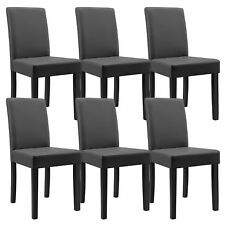 6x [en.casa]® Chaise salle à manger gris foncé cuir-synthétique rembourrée
