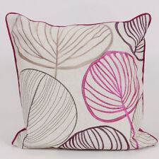 Harry Corry Palm Embroidered Leaf 45 X45cm Square Cushion With Inner Pad Purple