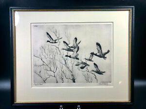Framed Through the Willows 1936 Etching ~ Richard E. Bishop Mallard Ducks BR