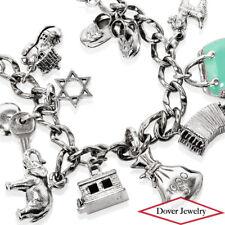 Estate Multi Stone Sterling Silver Lovely Charm Bracelet 44.3 Grams NR