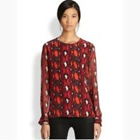 Equipment $208 Liam Silk Snake Print Persian Red Long Sleeve Blouse Top SZ S