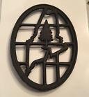 Portland stove foundry cast iron trivet MAINE Vintage Black Heavy 7 Oval Shape