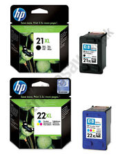 GENUINE 2016 DATE HP 22XL COLOUR + HP 21XL BLACK CARTRIDGES 1STCLASS FASTPOSTAGE