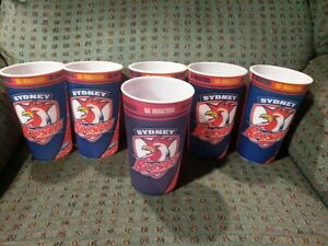 6 Sydney Roosters NRL Lenticular Drinking Tumblers  Cups  Jersey Football Cap