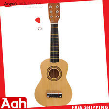 "21"" Kids Gift Beginners Practice Acoustic Guitar + Pick + 6 String Wood Color US"