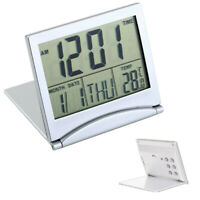 Folding Alarm Clock LCD Digital Home Clocks Thermometer Timer Desk Mini Calender