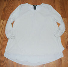 Womens Grace Elements Smoke Pearl Rounded Neck Top Long Sleeve Shirt XL