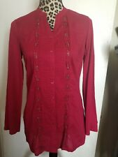 COLDWATER CREEK Women's Long Sleeve Burgundy Blouse Size XS 4-6