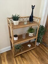 Large Vintage Retro Bamboo Wicker Tiki 3 Tier Plant Stand Book Case Display Unit
