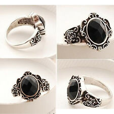 Fashion Women's Vintage Simple Black Crystal Ring Retro New Rhinestone Ring  7JU