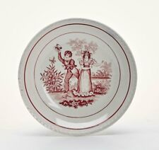 More details for antique puce decorated courting couple pearlware plate 19c.