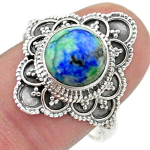 JAIPUR SILVER 4.93cts Solitaire Natural Turquoise Azurite Ring Size 9 T44990