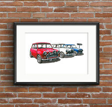 The Italian Job - Austin Mini Cooper S Mk1 - POSTER PRINT A1 size