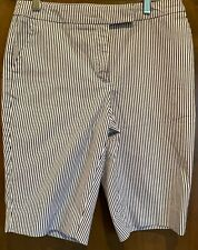 Jones New York Sz 4 Women's Stretch Shorts Dress Black/White Striped. NWOT