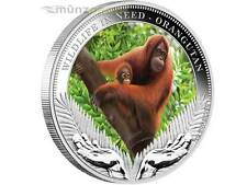 $1 Wildlife in Need Orang Utan Tuvalu 1 oz Silver 2011 Proof Australia coloured