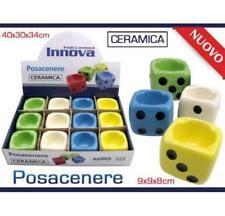 Set 12 Pezzi Posacenere Porta Cenere Sigarette In Ceramica Dado Colorato dfh