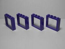 LEGOS Set of 4 NEW 1 x 4 x 3 Train Windows Clear Glass DARK PURPLE  HARRY POTTER