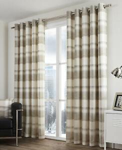 Balmoral Check Natural Eyelet Ring Top Curtains