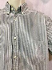 Green Medium Striped Dress Shirt M Button Down Front Oxford Top Blue White VTG