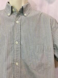 Green Striped Medium Dress Shirt Button Down Front Oxford M Top Blue White VTG
