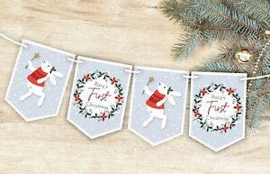 Personalised Baby's First Christmas Bunting, Xmas Decoration Banner