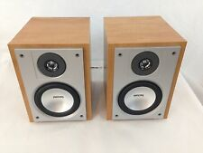 Set of 2 Phillips FWB-MC50/17 6 Ohm Maple Wood Case Speaker System Speakers