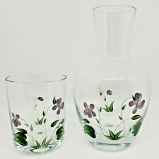 Bedside Water Carafe Hand Painted Drinking Glass Lid Pitcher Purple Flower Flora