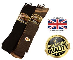 New Men's 3, 6 Pairs Long Lambswool Knee High Lycra Blend Socks Size UK 6-11
