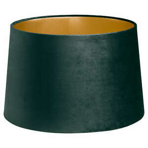 Velvet Lamp And Ceiling Shade Emerald Green with Gold Inner Bayonet Fitting