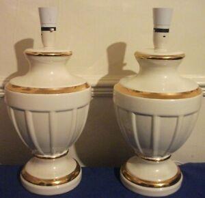 "VINTAGE PORCELAIN 2 TABLE LAMP,NEO CLASSIC RETRO,80'S,GOLD-CREAM,41CM/16""/ TALL"