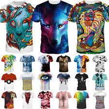 Men Women Funny 3D Print Short Sleeve Tops Graphic T-Shirt Blouse Shirts Unisex