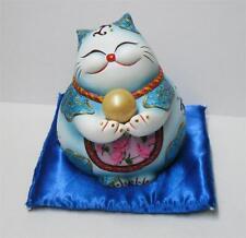 Maneki Neko Lucky Cat Fatty Jewel Cat Coin Bank Money Pot Blue