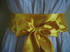 """2.5""""X60"""" YELLOW SATIN FABRIC SASH SELF TIE BOW WRAP BELT FOR DRESS PARTY PROM"""