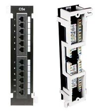 Five (5) New 12 Port Cat5e Surface Mount Patch Panels