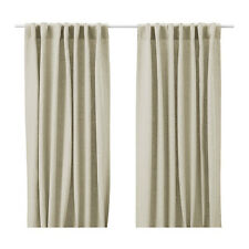 IKEA CURTAINS 100% LINEN Aina 1 pair Drapes Window panels Gray Beige White Blue