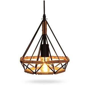 1*Ceiling Pendant Light Shade Creative Retro Iron Rope Fits For E27 Lamp Bulb