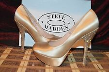 "Steve Madden Party Y-R Champagne Satin, Platform Pumps w/5"" Rhinestone Heels 8 M"