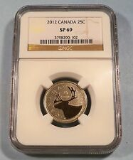 2012 CANADA NGC SP69 25c REVERSE PROOF TYPE QUARTER SPECIMEN SP MS 69