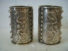 Chic Tibet Silver Men's Cuff dragon and phoenix Bracelet pair